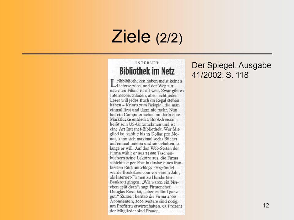 12 Ziele (2/2) Der Spiegel, Ausgabe 41/2002, S. 118