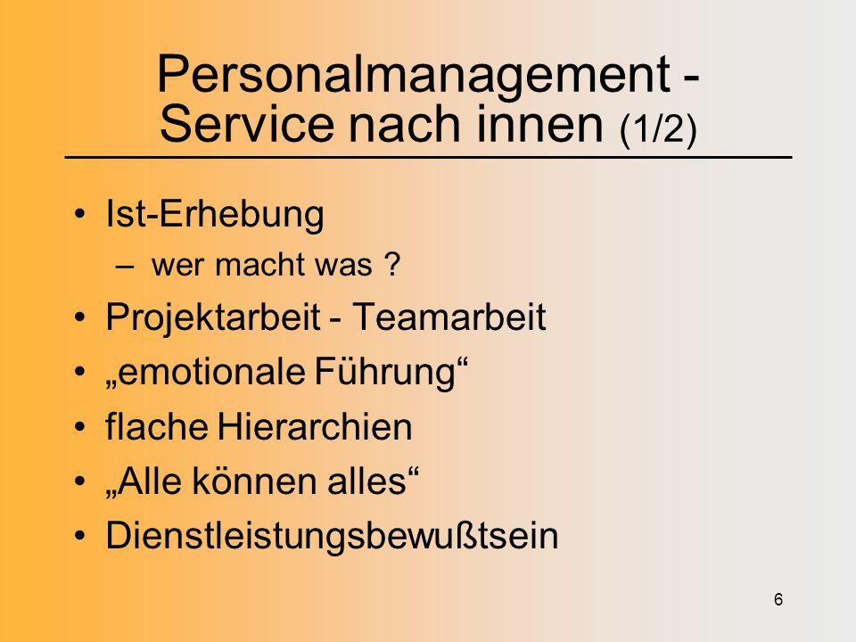 6 Personalmanagement - Service nach innen (1/2) Ist-Erhebung – wer macht was .