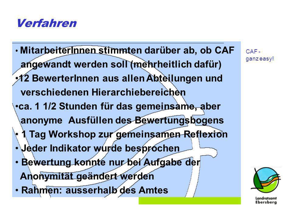 Folie 3 Verfahren MitarbeiterInnen stimmten darüber ab, ob CAF angewandt werden soll (mehrheitlich dafür) 12 BewerterInnen aus allen Abteilungen und verschiedenen Hierarchiebereichen ca.