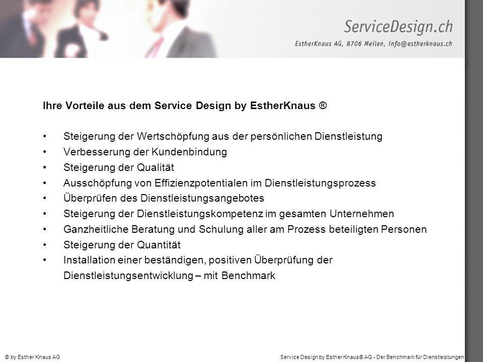 Service Design by Esther Knaus® AG - Der Benchmark für Dienstleistungen© by Esther Knaus AG Ihre Vorteile aus dem Service Design by EstherKnaus ® Stei