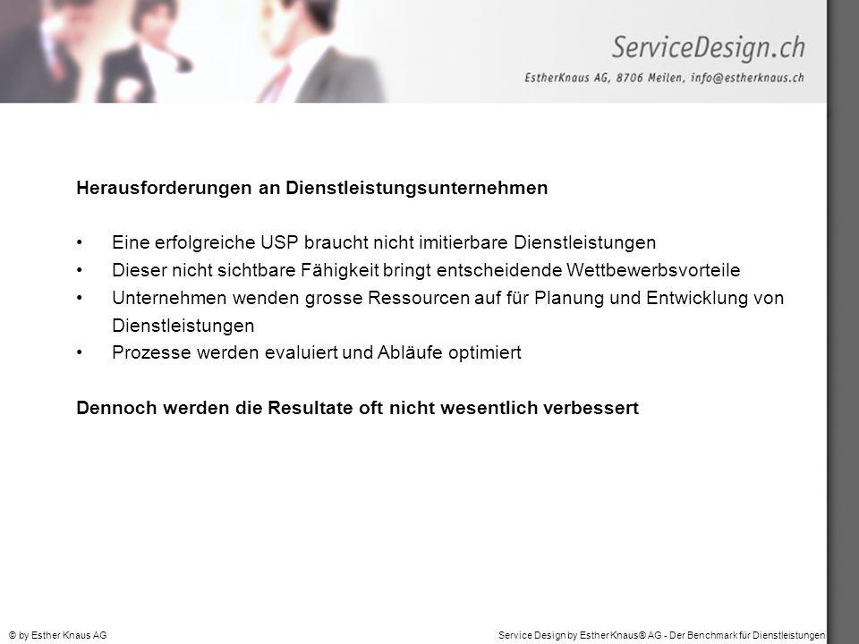 Service Design by Esther Knaus® AG - Der Benchmark für Dienstleistungen© by Esther Knaus AG Herausforderungen an Dienstleistungsunternehmen Eine erfol