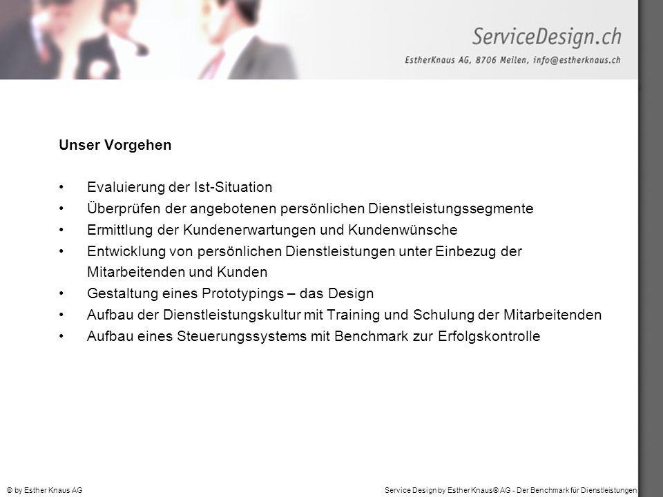 Service Design by Esther Knaus® AG - Der Benchmark für Dienstleistungen© by Esther Knaus AG Unser Vorgehen Evaluierung der Ist-Situation Überprüfen de