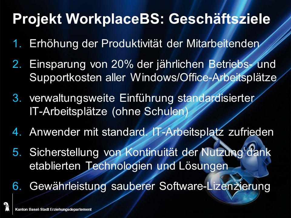 Kanton Basel-Stadt Projekt WorkplaceBS: Geschäftsziele 1.Erhöhung der Produktivität der Mitarbeitenden 2.Einsparung von 20% der jährlichen Betriebs- u