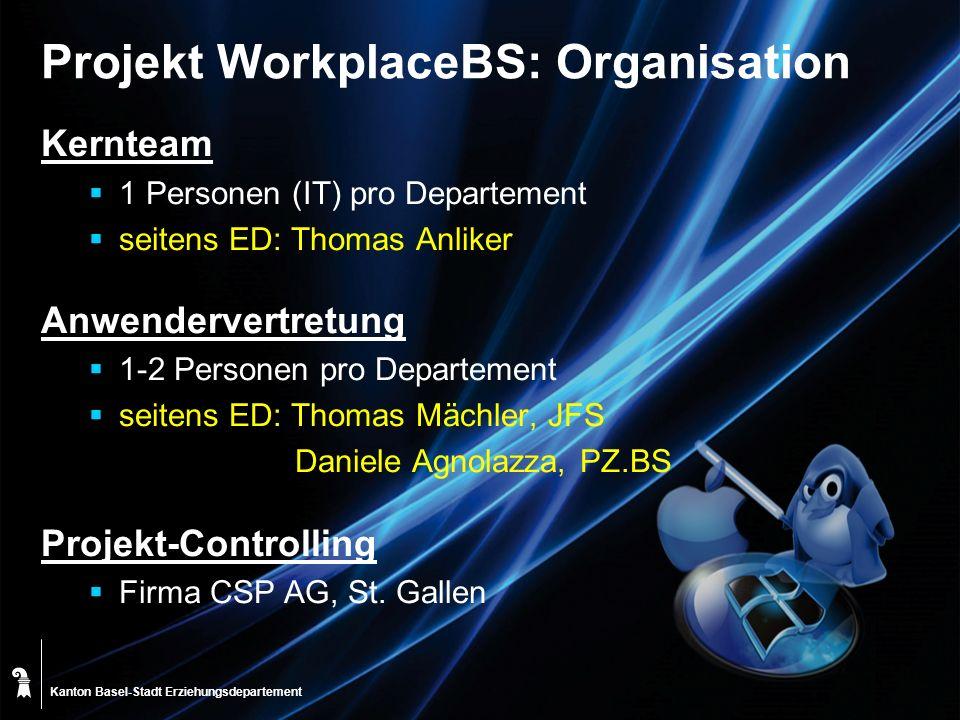 Kanton Basel-Stadt Projekt WorkplaceBS: Organisation Kernteam 1 Personen (IT) pro Departement seitens ED: Thomas Anliker Anwendervertretung 1-2 Person