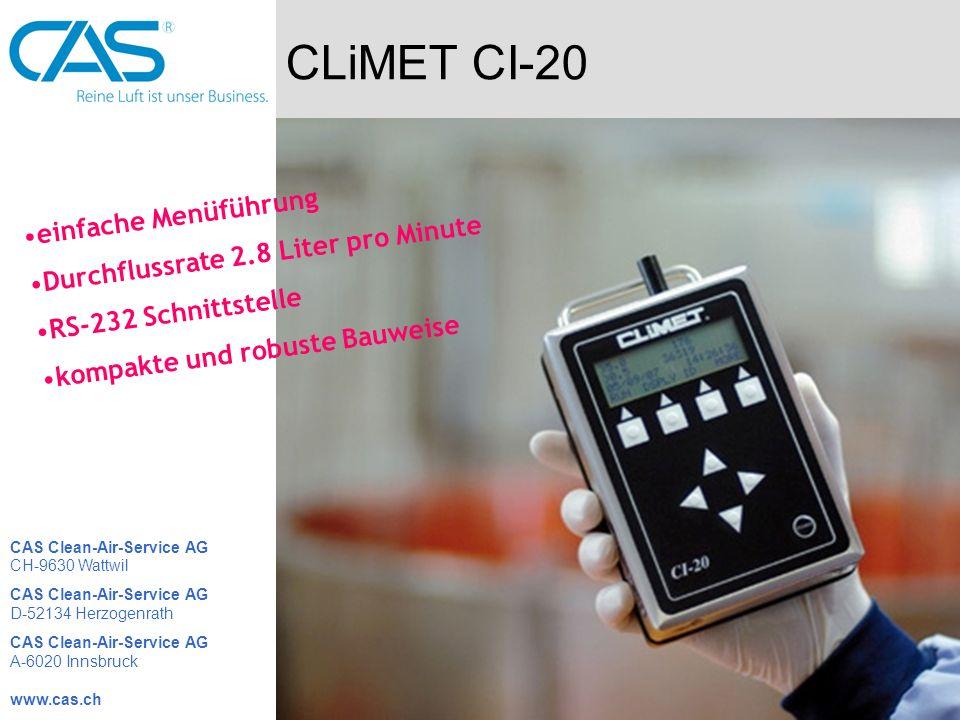 CLiMET CI-20 einfache Menüführung Durchflussrate 2.8 Liter pro Minute RS-232 Schnittstelle kompakte und robuste Bauweise CAS Clean-Air-Service AG CH-9