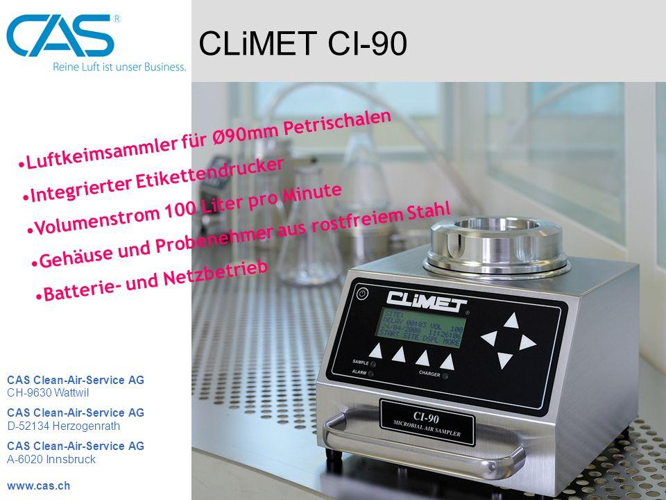 CLiMET CI-90 Luftkeimsammler für Ø90mm Petrischalen Integrierter Etikettendrucker Volumenstrom 100 Liter pro Minute Gehäuse und Probenehmer aus rostfr