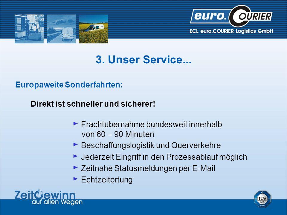 Europaweite Sonderfahrten: Direkt ist schneller und sicherer! Frachtübernahme bundesweit innerhalb von 60 – 90 Minuten Beschaffungslogistik und Querve