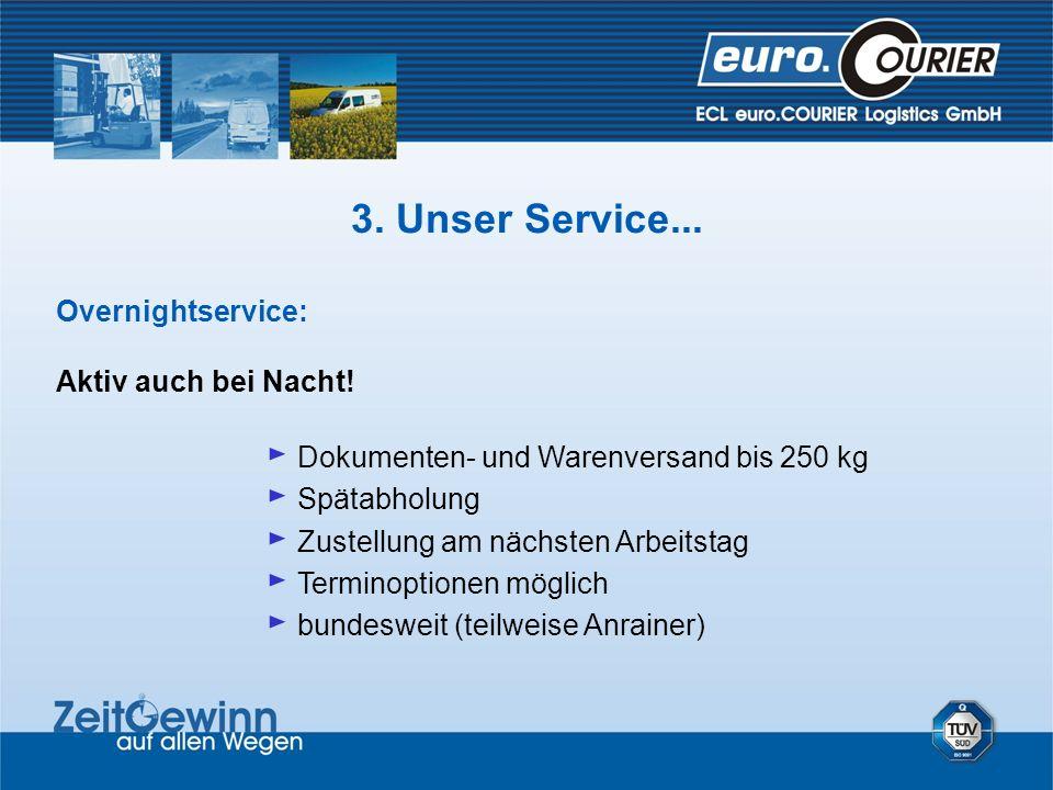 Overnightservice: Aktiv auch bei Nacht! Dokumenten- und Warenversand bis 250 kg Spätabholung Zustellung am nächsten Arbeitstag Terminoptionen möglich