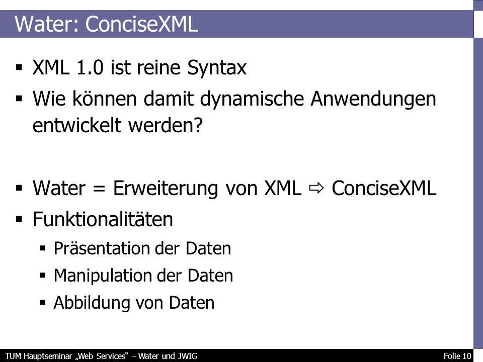 TUM Hauptseminar Web Services – Water und JWIG Folie 10 Water: ConciseXML XML 1.0 ist reine Syntax Wie können damit dynamische Anwendungen entwickelt werden.