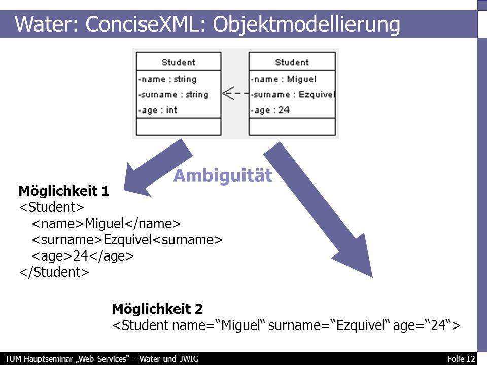 TUM Hauptseminar Web Services – Water und JWIG Folie 12 Möglichkeit 1 Miguel Ezquivel 24 Möglichkeit 2 Water: ConciseXML: Objektmodellierung Ambiguität