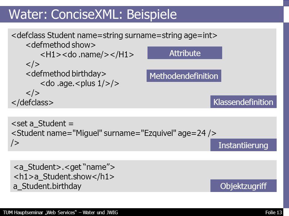 TUM Hauptseminar Web Services – Water und JWIG Folie 13 Water: ConciseXML: Beispiele /> <set a_Student = />.