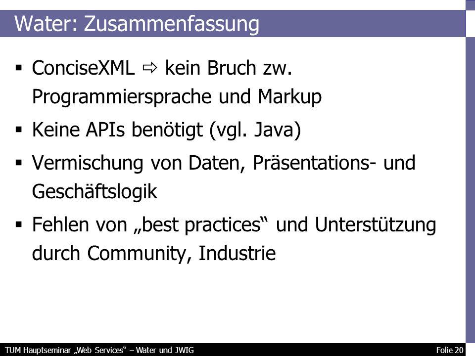 TUM Hauptseminar Web Services – Water und JWIG Folie 20 Water: Zusammenfassung ConciseXML kein Bruch zw.