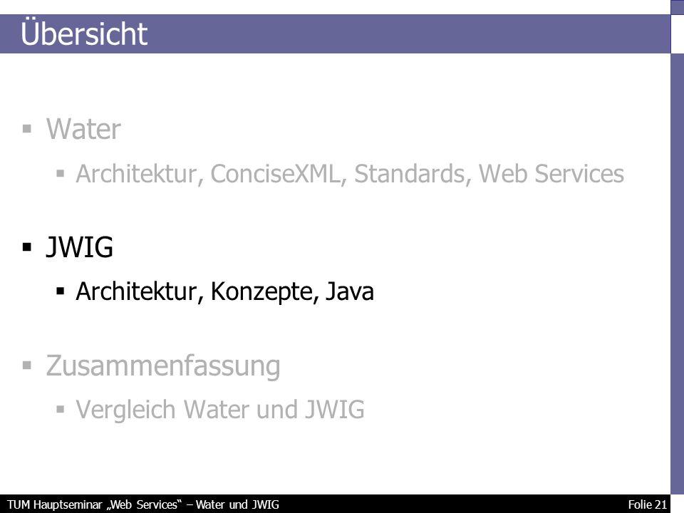 TUM Hauptseminar Web Services – Water und JWIG Folie 21 Übersicht Water Architektur, ConciseXML, Standards, Web Services JWIG Architektur, Konzepte, Java Zusammenfassung Vergleich Water und JWIG