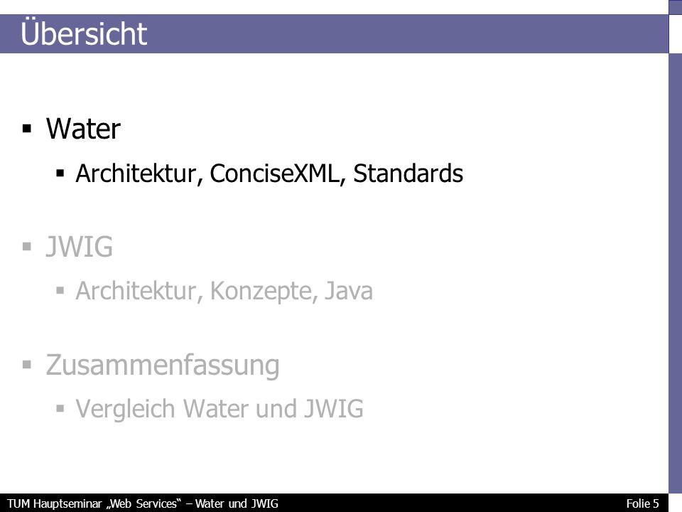 TUM Hauptseminar Web Services – Water und JWIG Folie 5 Übersicht Water Architektur, ConciseXML, Standards JWIG Architektur, Konzepte, Java Zusammenfassung Vergleich Water und JWIG