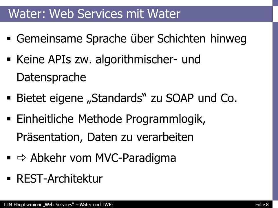 TUM Hauptseminar Web Services – Water und JWIG Folie 8 Water: Web Services mit Water Gemeinsame Sprache über Schichten hinweg Keine APIs zw.