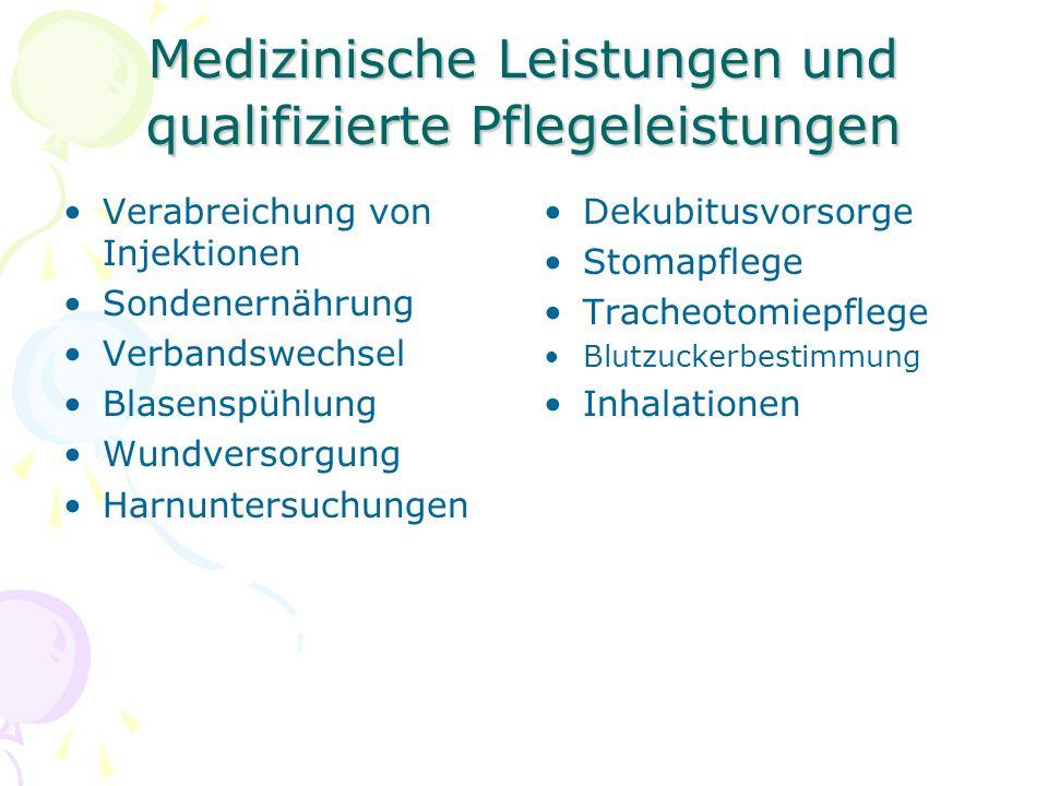 Medizinische Leistungen und qualifizierte Pflegeleistungen Verabreichung von Injektionen Sondenernährung Verbandswechsel Blasenspühlung Wundversorgung