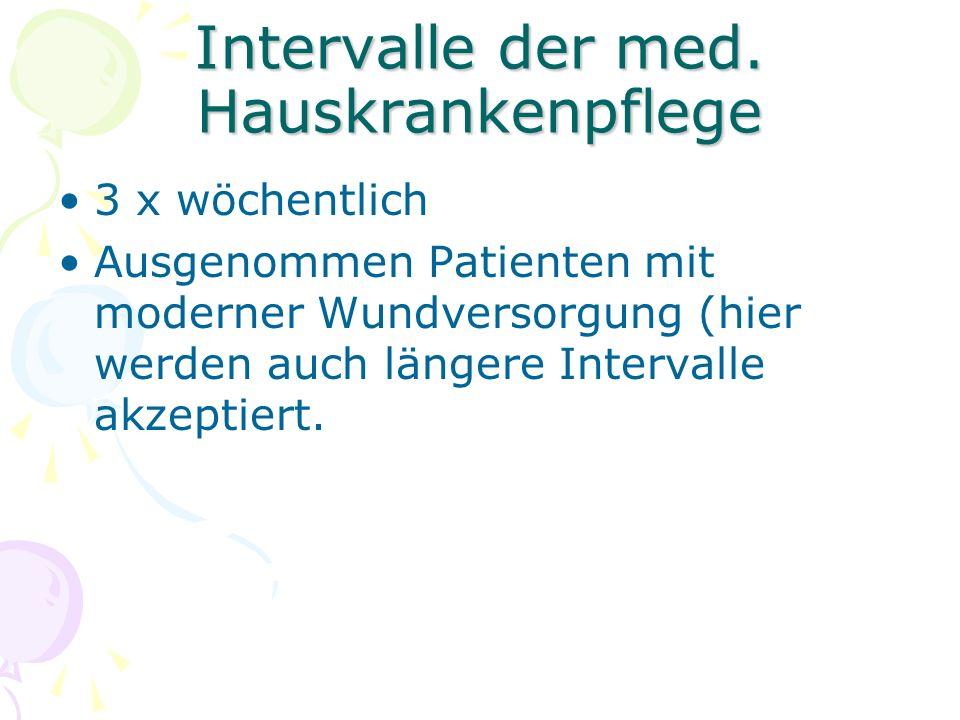 Intervalle der med. Hauskrankenpflege 3 x wöchentlich Ausgenommen Patienten mit moderner Wundversorgung (hier werden auch längere Intervalle akzeptier