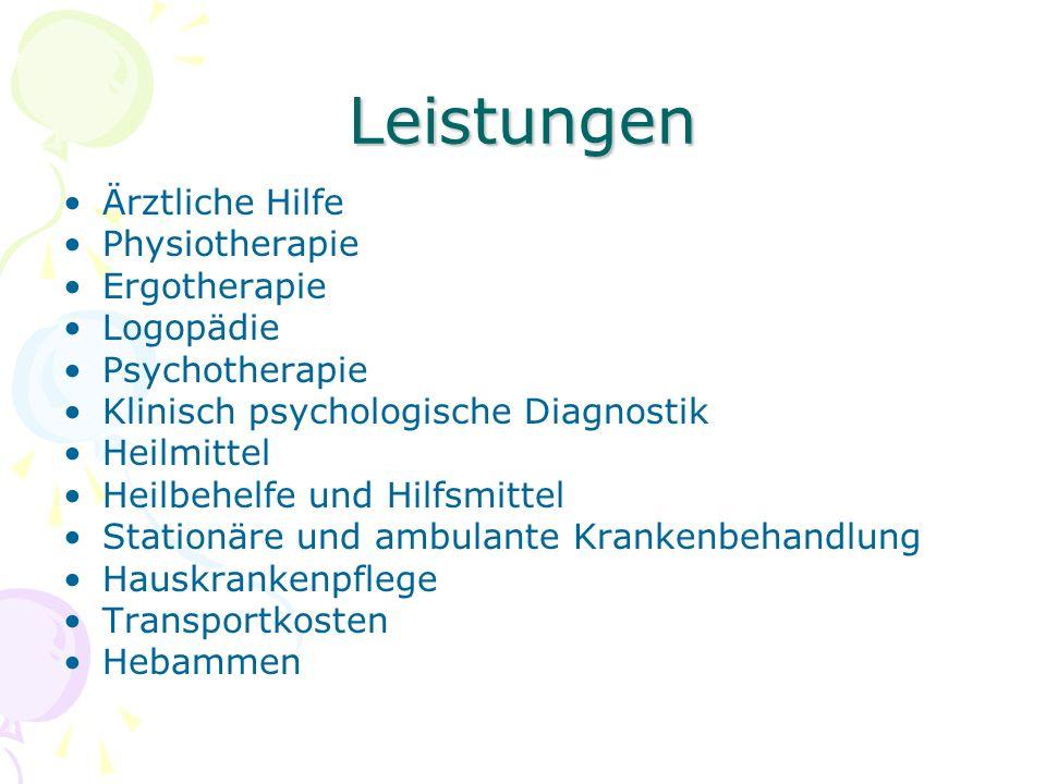 Leistungen Ärztliche Hilfe Physiotherapie Ergotherapie Logopädie Psychotherapie Klinisch psychologische Diagnostik Heilmittel Heilbehelfe und Hilfsmit