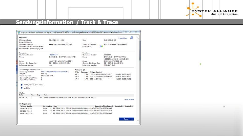 :3 Sendungsinformation / Track & Trace :3
