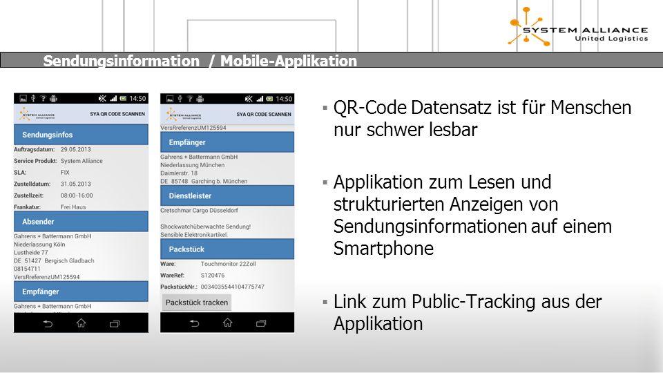 Sendungsinformation / Mobile-Applikation QR-Code Datensatz ist für Menschen nur schwer lesbar Applikation zum Lesen und strukturierten Anzeigen von Sendungsinformationen auf einem Smartphone Link zum Public-Tracking aus der Applikation