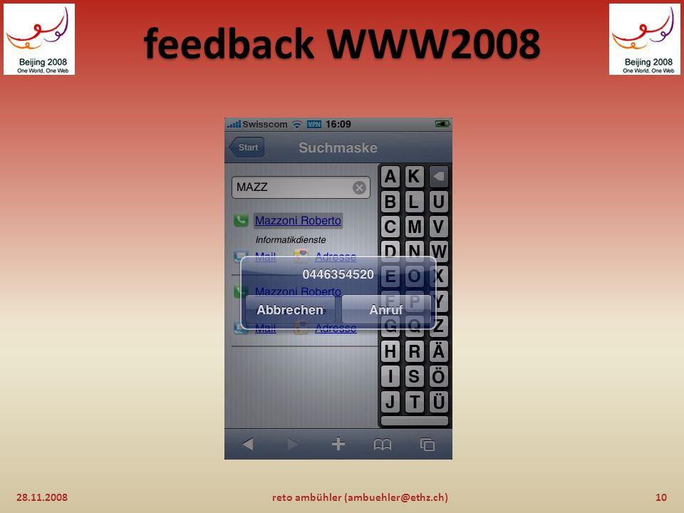 feedback WWW2008 28.11.20089reto ambühler (ambuehler@ethz.ch)