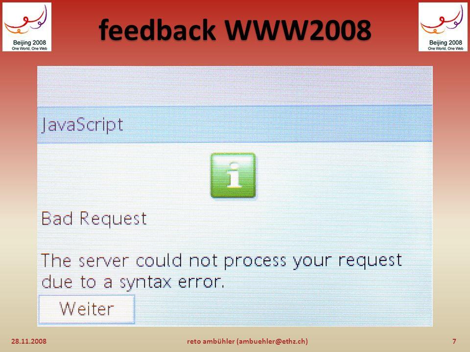 feedback WWW2008 und...