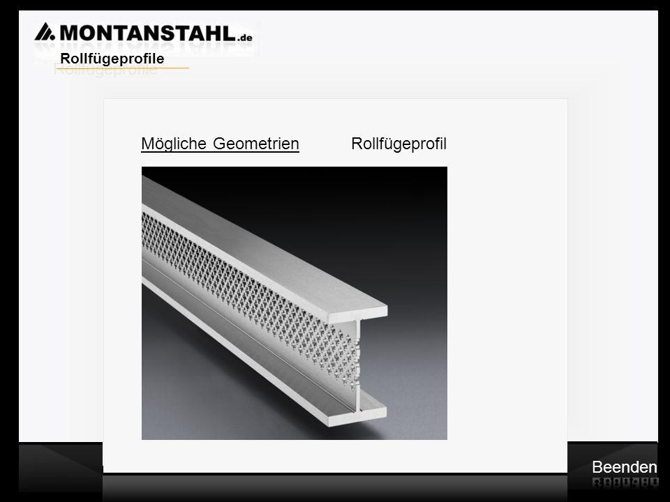 Laser - Profile Warmwalzwerk Mögliche Geometrien Rollfügeprofil Beenden Rollfügeprofile