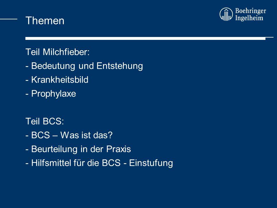 Themen Teil Milchfieber: - Bedeutung und Entstehung - Krankheitsbild - Prophylaxe Teil BCS: - BCS – Was ist das? - Beurteilung in der Praxis - Hilfsmi