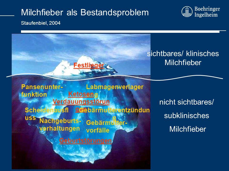 Milchfieber als Bestandsproblem Staufenbiel, 2004 sichtbares/ klinisches Milchfieber Festlieger Pansenunter- funktion Labmagenverlager ung Ketosen Ver