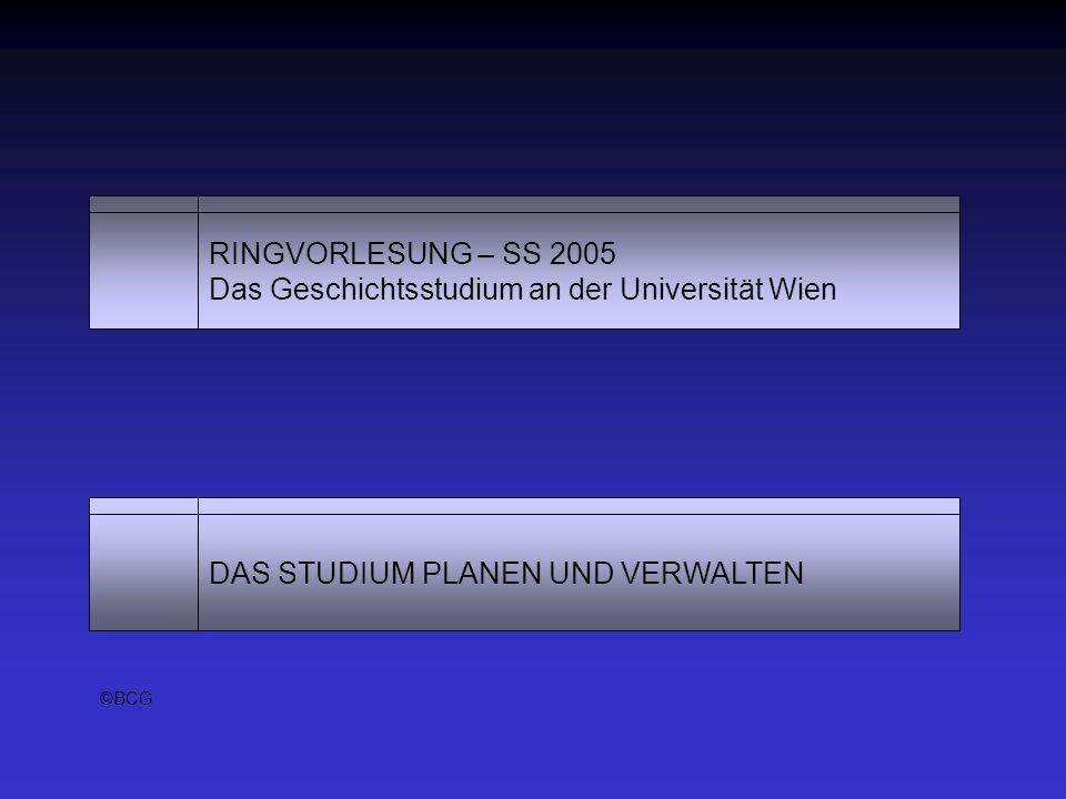 RINGVORLESUNG – SS 2005 Das Geschichtsstudium an der Universität Wien DAS STUDIUM PLANEN UND VERWALTEN ©BCG