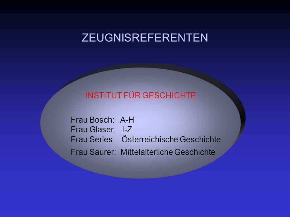 ZEUGNISREFERENTEN INSTITUT FÜR GESCHICHTE Frau Bosch: A-H Frau Glaser: I-Z Frau Serles: Österreichische Geschichte Frau Saurer: Mittelalterliche Geschichte
