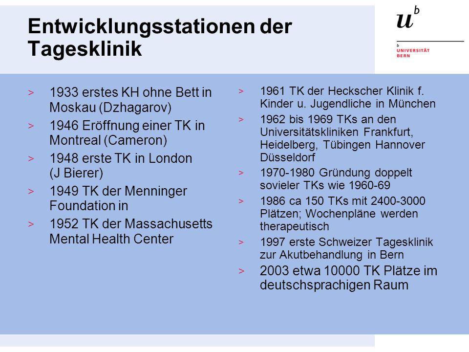 Entwicklungsstationen der Tagesklinik 1933 erstes KH ohne Bett in Moskau (Dzhagarov) 1946 Eröffnung einer TK in Montreal (Cameron) 1948 erste TK in Lo