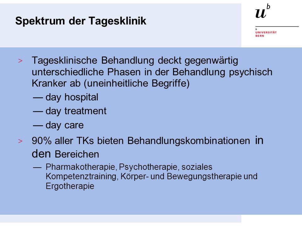 Spektrum der Tagesklinik Tagesklinische Behandlung deckt gegenwärtig unterschiedliche Phasen in der Behandlung psychisch Kranker ab (uneinheitliche Be