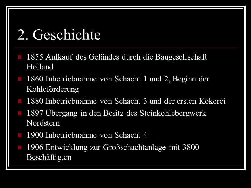 2. Geschichte 1855 Aufkauf des Geländes durch die Baugesellschaft Holland 1860 Inbetriebnahme von Schacht 1 und 2, Beginn der Kohleförderung 1880 Inbe