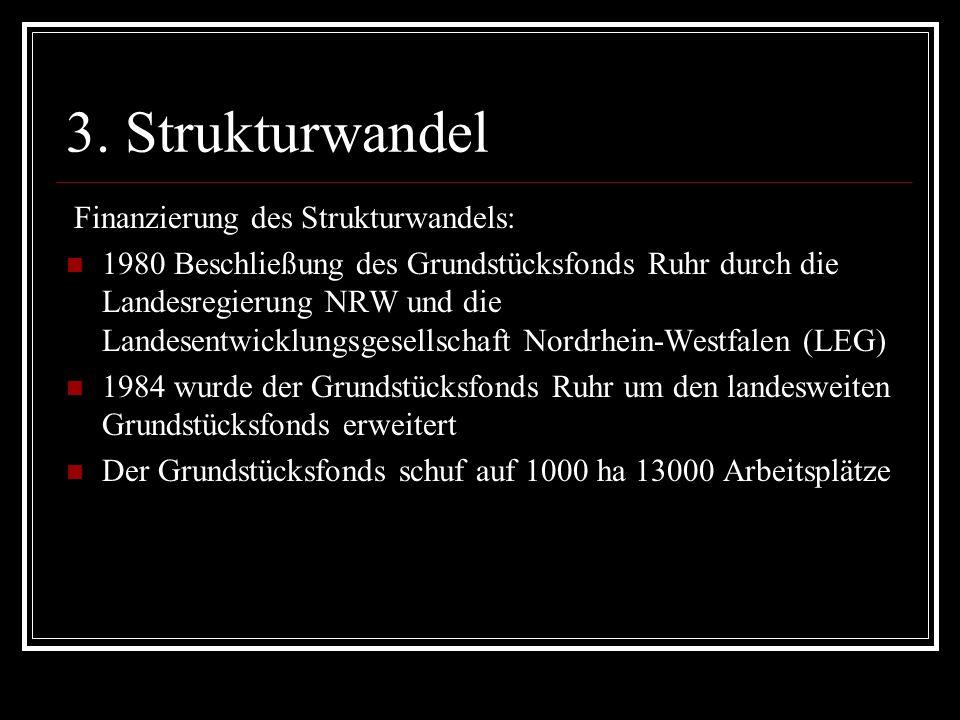 3. Strukturwandel Finanzierung des Strukturwandels: 1980 Beschließung des Grundstücksfonds Ruhr durch die Landesregierung NRW und die Landesentwicklun