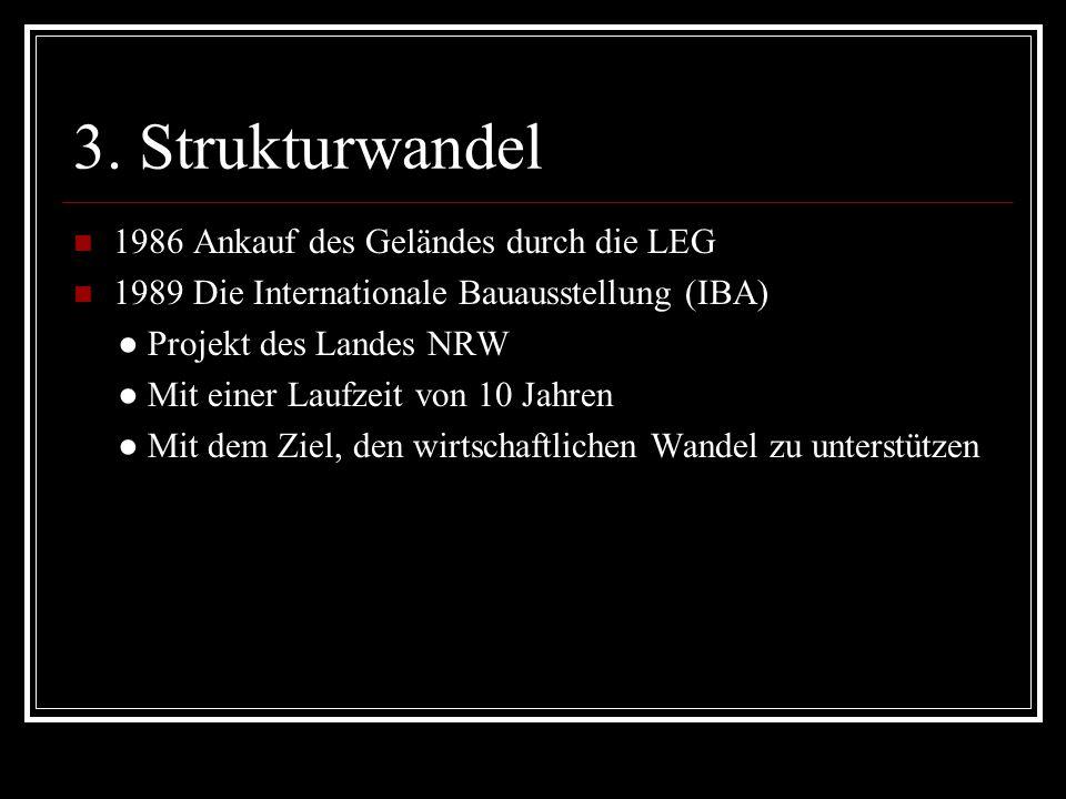 3. Strukturwandel 1986 Ankauf des Geländes durch die LEG 1989 Die Internationale Bauausstellung (IBA) Projekt des Landes NRW Mit einer Laufzeit von 10