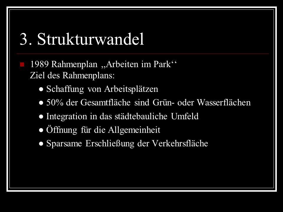 3. Strukturwandel 1989 Rahmenplan,,Arbeiten im Park Ziel des Rahmenplans: Schaffung von Arbeitsplätzen 50% der Gesamtfläche sind Grün- oder Wasserfläc