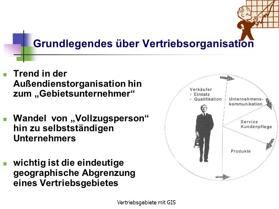 Vertriebsgebiete mit GIS Grundlegendes über Vertriebsorganisation Produkte immer ähnlicher => austauschbar Präsentation des Produkts durch Außendienst