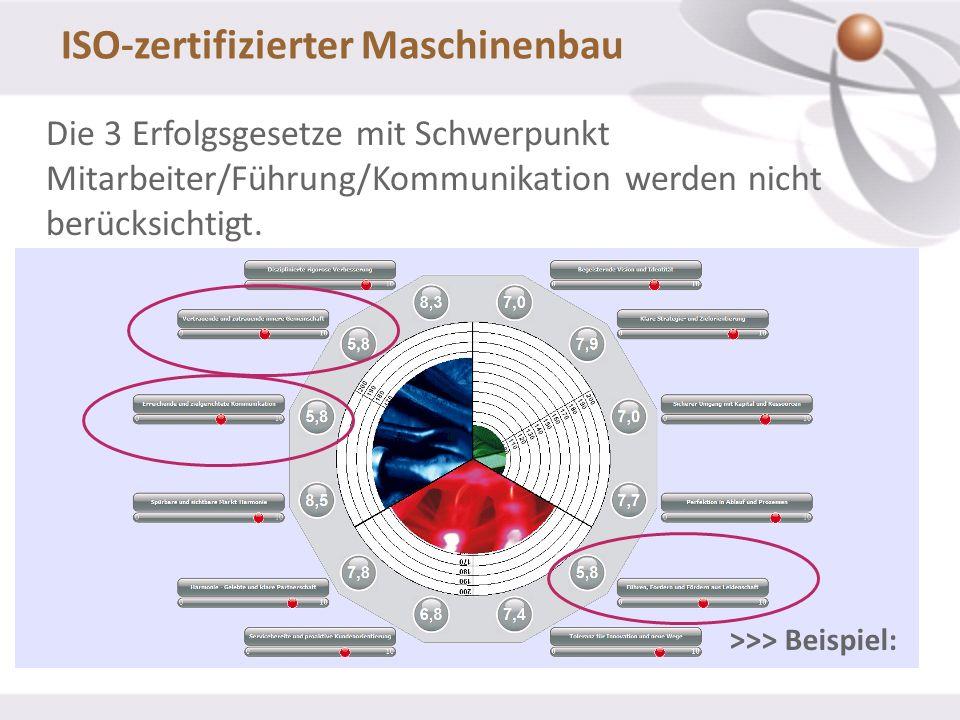 Die 3 Erfolgsgesetze mit Schwerpunkt Mitarbeiter/Führung/Kommunikation werden nicht berücksichtigt. ISO-zertifizierter Maschinenbau >>> Beispiel: