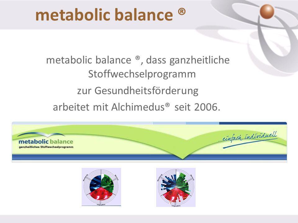 metabolic balance ® metabolic balance ®, dass ganzheitliche Stoffwechselprogramm zur Gesundheitsförderung arbeitet mit Alchimedus® seit 2006.
