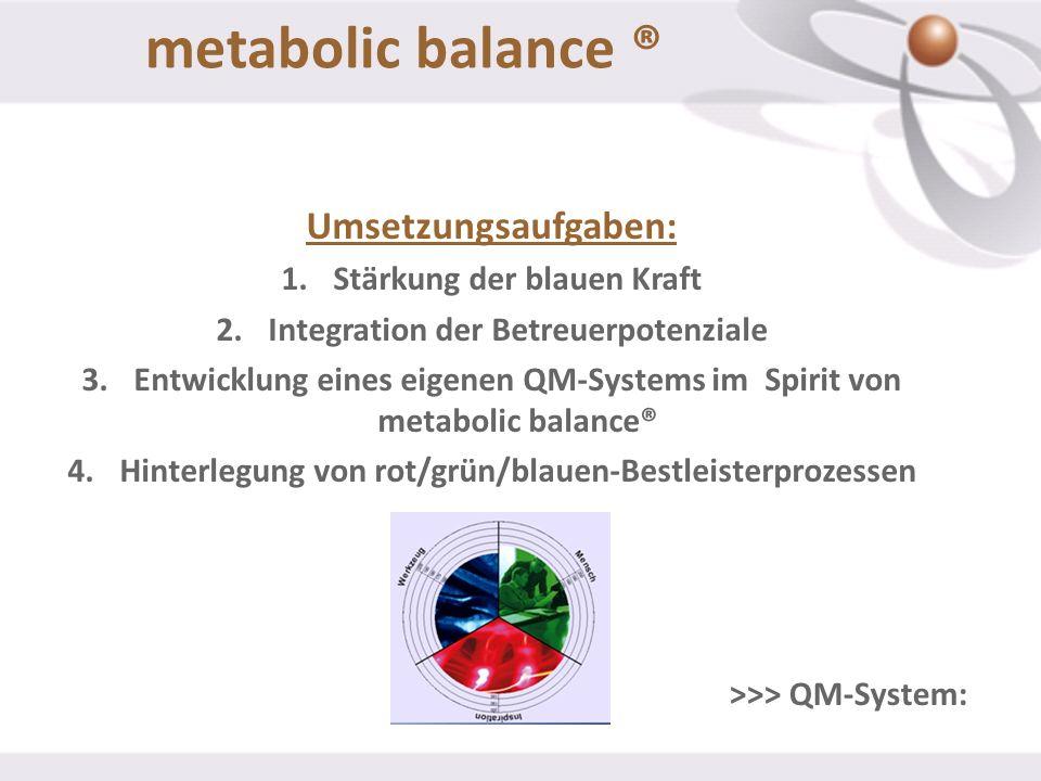 Umsetzungsaufgaben: 1.Stärkung der blauen Kraft 2.Integration der Betreuerpotenziale 3.Entwicklung eines eigenen QM-Systems im Spirit von metabolic ba