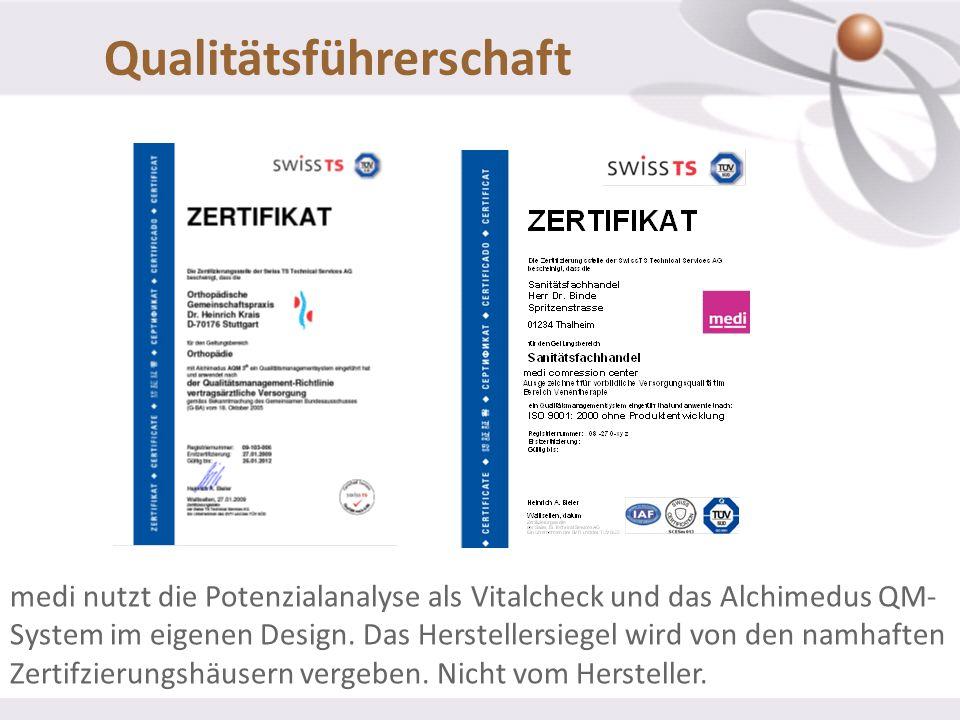 medi nutzt die Potenzialanalyse als Vitalcheck und das Alchimedus QM- System im eigenen Design. Das Herstellersiegel wird von den namhaften Zertifzier