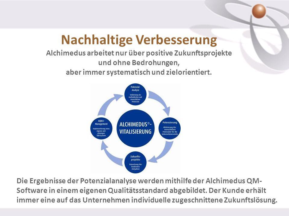 Nachhaltige Verbesserung Alchimedus arbeitet nur über positive Zukunftsprojekte und ohne Bedrohungen, aber immer systematisch und zielorientiert. Die