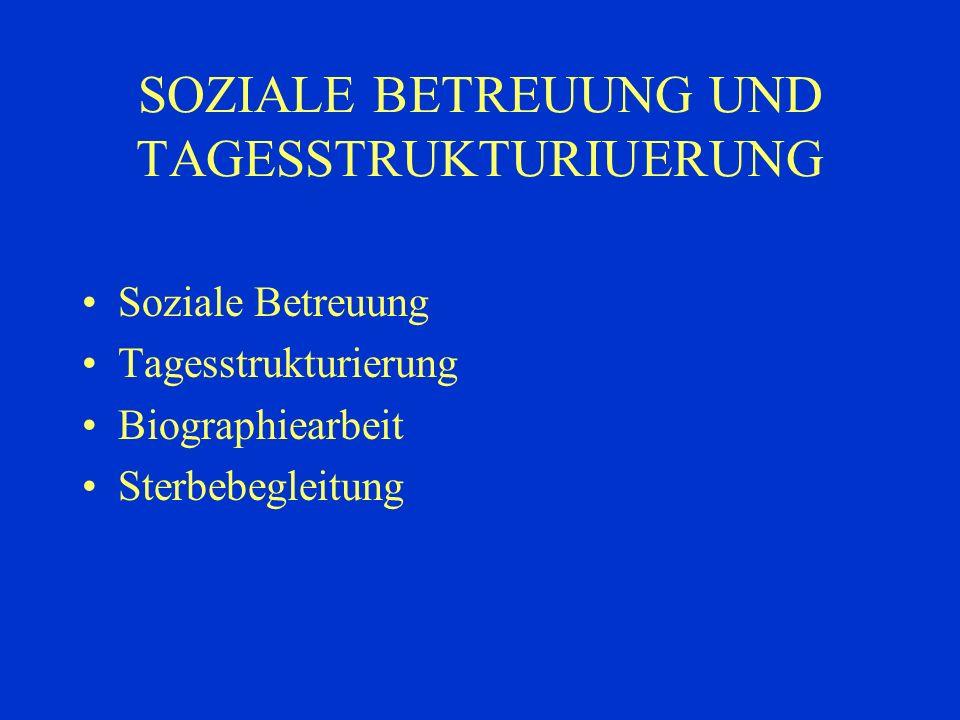 SOZIALE BETREUUNG UND TAGESSTRUKTURIUERUNG Soziale Betreuung Tagesstrukturierung Biographiearbeit Sterbebegleitung