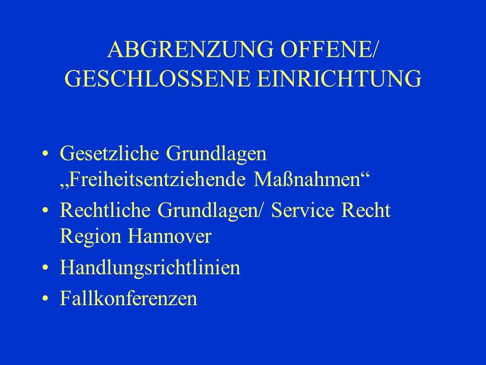 ABGRENZUNG OFFENE/ GESCHLOSSENE EINRICHTUNG Gesetzliche Grundlagen Freiheitsentziehende Maßnahmen Rechtliche Grundlagen/ Service Recht Region Hannover