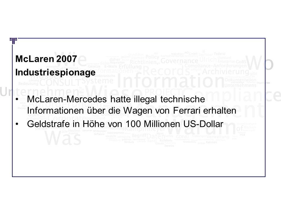 Wie Wo Was McLaren 2007 Industriespionage McLaren-Mercedes hatte illegal technische Informationen über die Wagen von Ferrari erhalten Geldstrafe in Hö
