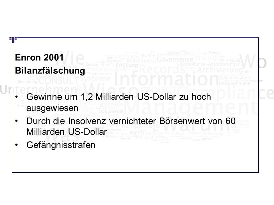 Wie Wo Was Enron 2001 Bilanzfälschung Gewinne um 1,2 Milliarden US-Dollar zu hoch ausgewiesen Durch die Insolvenz vernichteter Börsenwert von 60 Milli