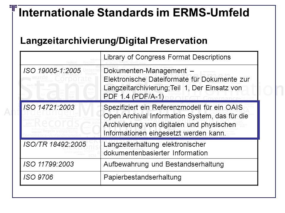 Internationale Standards im ERMS-Umfeld Library of Congress Format Descriptions ISO 19005-1:2005Dokumenten-Management – Elektronische Dateiformate für