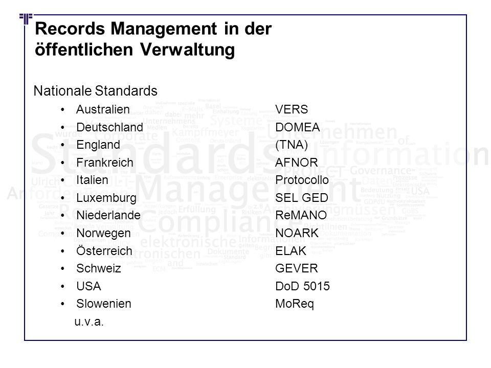 Records Management in der öffentlichen Verwaltung Nationale Standards AustralienVERS DeutschlandDOMEA England(TNA) FrankreichAFNOR ItalienProtocollo L
