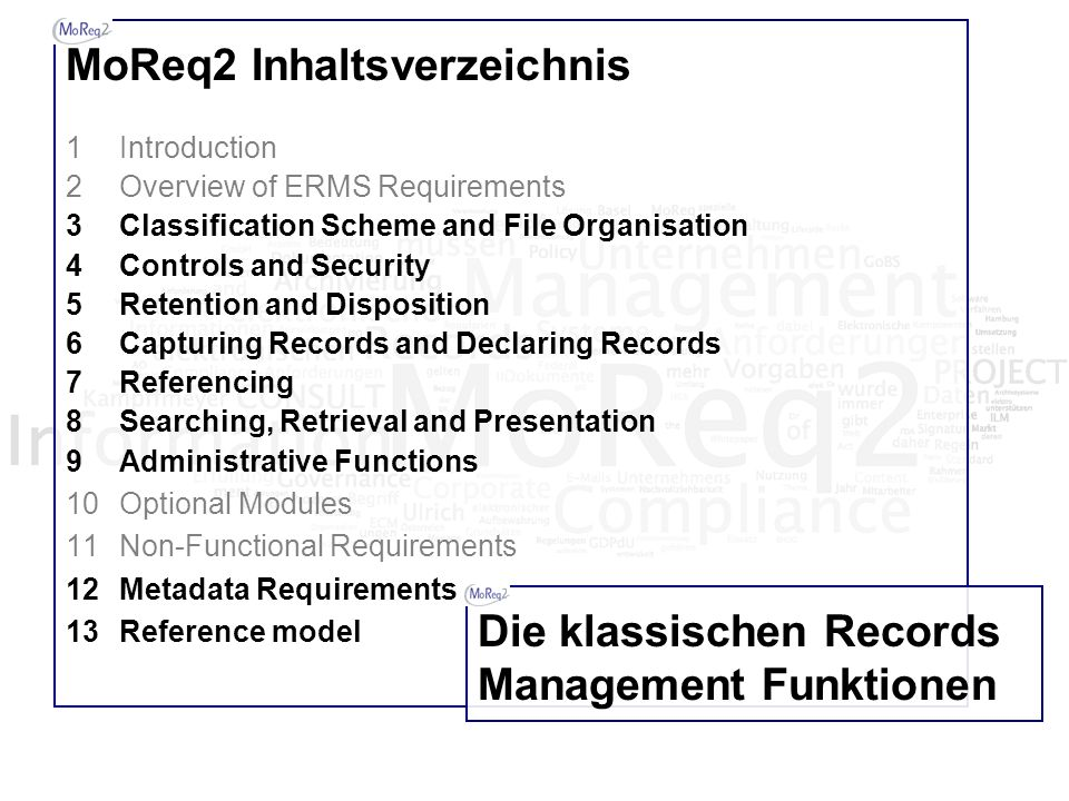 MoReq2 Inhaltsverzeichnis 1Introduction 2Overview of ERMS Requirements 3Classification Scheme and File Organisation 4Controls and Security 5Retention and Disposition 6Capturing Records and Declaring Records 7Referencing 8Searching, Retrieval and Presentation 9Administrative Functions 10Optional Modules 11Non-Functional Requirements 12Metadata Requirements 13Reference model Die klassischen Records Management Funktionen
